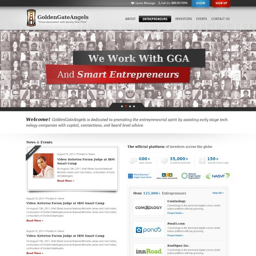 Entrepreneur website with the title 'Website design for Golden Gate Angels'