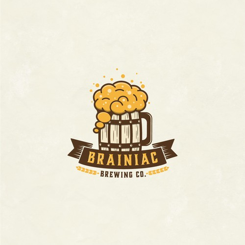 Brown and pink logo with the title 'BRAINIAC BREWING CO'