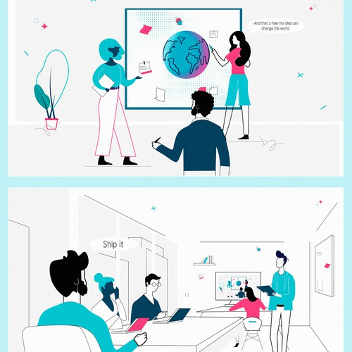 Concept illustration with the title ' 2D Motion Graphics Concept Art'