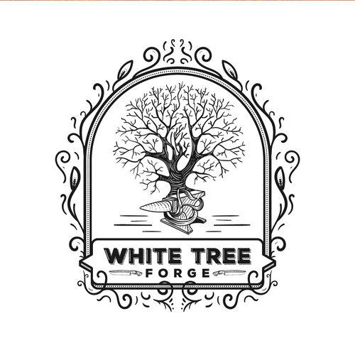 Blacksmith logo with the title 'Classic hand-drawn logo for white tree forge'