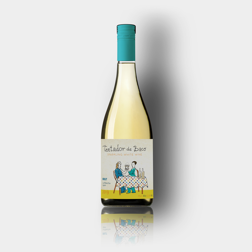 Sparkling wine label with the title 'Sparkling wine label concept'