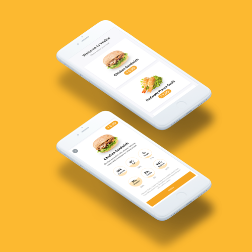 Payment design with the title 'iOS App for Ordering Foods'