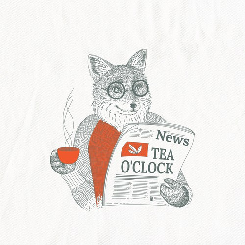 Fox design with the title 'Fox reading a newspaper for In 2 the Nest'
