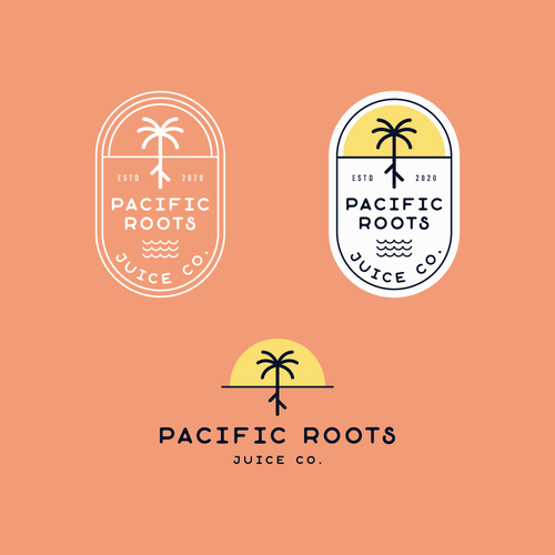 California logo with the title 'Pacific Roots Juice Co.'