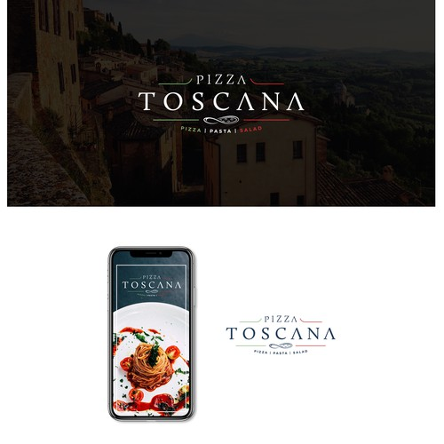 Italian logo with the title 'Logo design for Pizza Toscana'