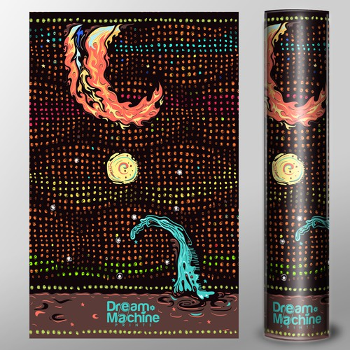 Pattern packaging with the title 'Colorful Shipping Tube Design for E-Commerce Art Shop'