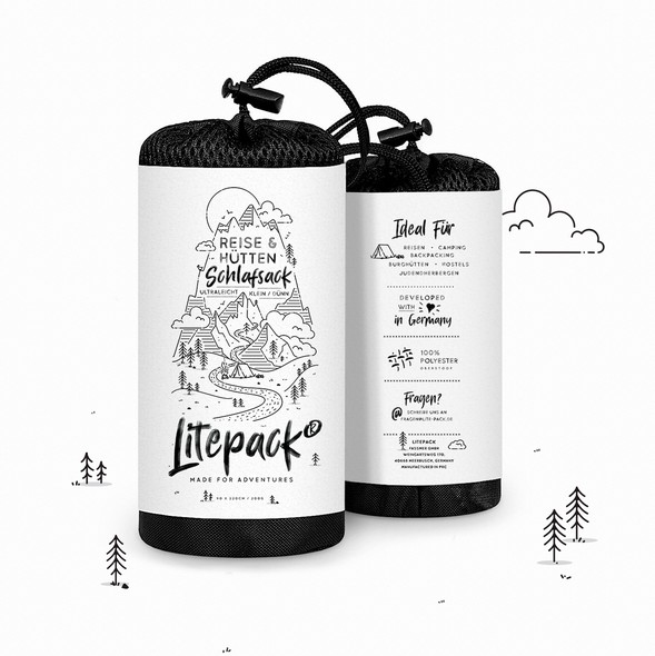 Mountain label with the title 'Illustrated label for a Sleeping Bag'