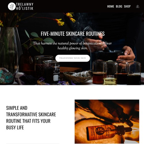 Cosmetics website with the title 'Squarespace Website for Indie Skincare Brand'