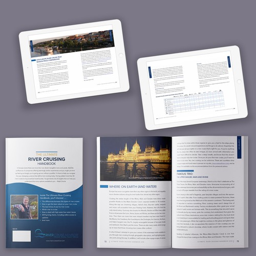 IPad design with the title 'Clean and beautiful e-book and print travel handbook'