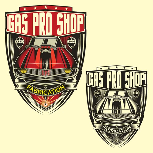 Muscle car logo with the title 'Logo Gas Pro Shop'