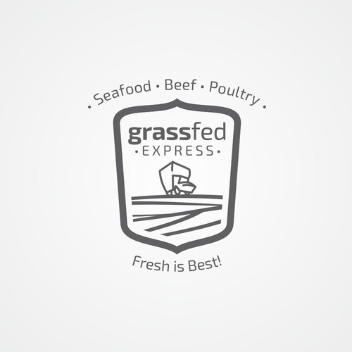 Field design with the title 'Grass Fed Express!'