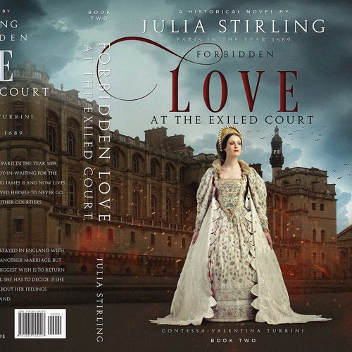 Historical romance book cover with the title 'Cover for historical romance set at the exiled English court in France in 1689'