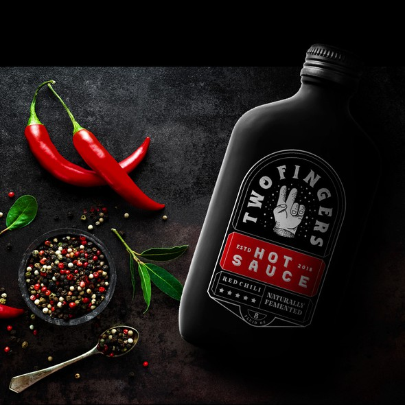 Chili pepper design with the title 'Two finger hot sauce'