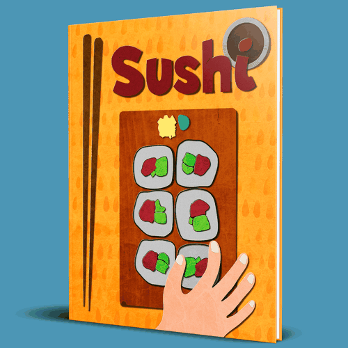 Sushi artwork with the title 'Book on Sushi'