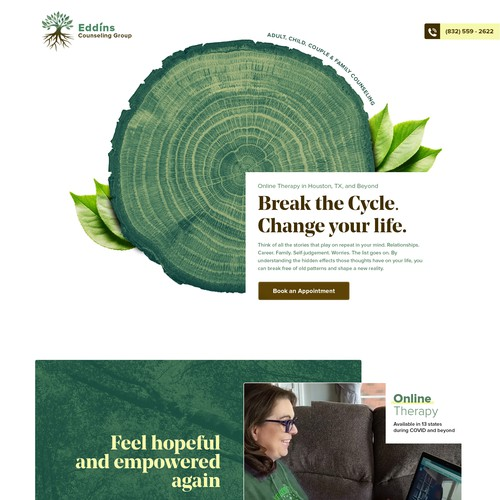 Nature website with the title 'Clean, and Modern Counseling Website'
