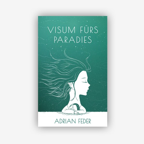 White and green design with the title 'Visum fürs Paradies Book Cover'