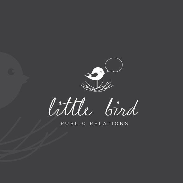 PR design with the title 'Logo for a small PR agency'
