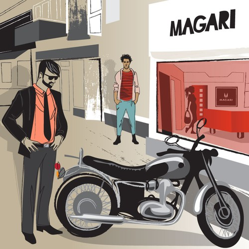 Men's fashion design with the title 'illustration for magari shoes'