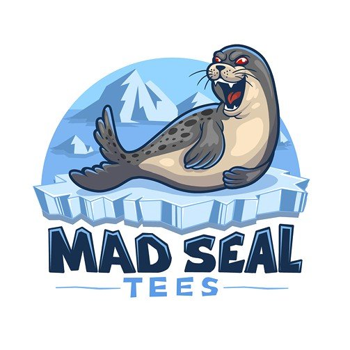 Cartoon brand with the title 'Mad Seal Tees'