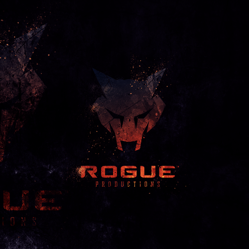 Dark logo with the title 'Logo Project for Rogue Productions'