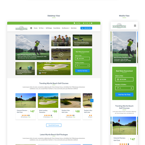 Golf website with the title 'Destination Golf Site'