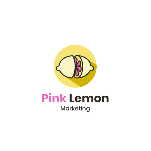 Yellow and pink design with the title 'Pink Lemon Marketing needs a unique & creative logo'