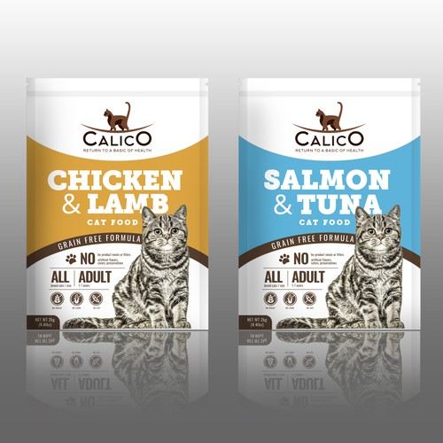 Cat packaging with the title 'Packaging for healthy cat food'