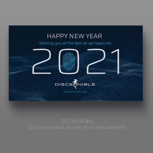 Fingerprint design with the title 'Professional new year's e-card for Discernible Inc'