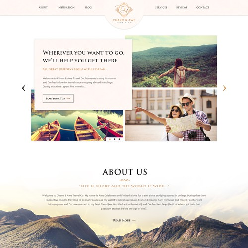 Travel website with the title 'Travel Company Website Design'