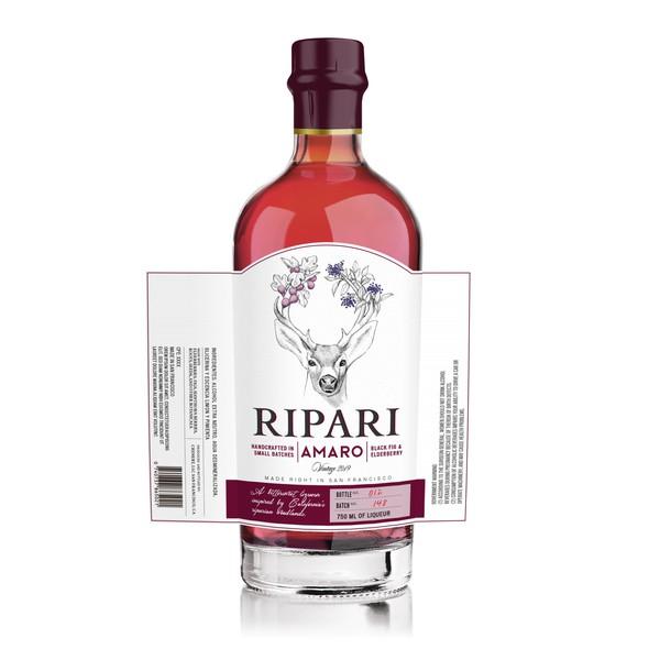 Liquor label with the title 'Ripari'