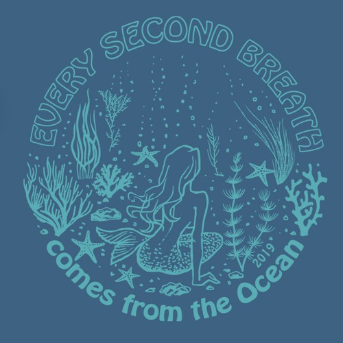 Hand-drawn design with the title 'Illustration design for an Ocean Campaign T-shirt'
