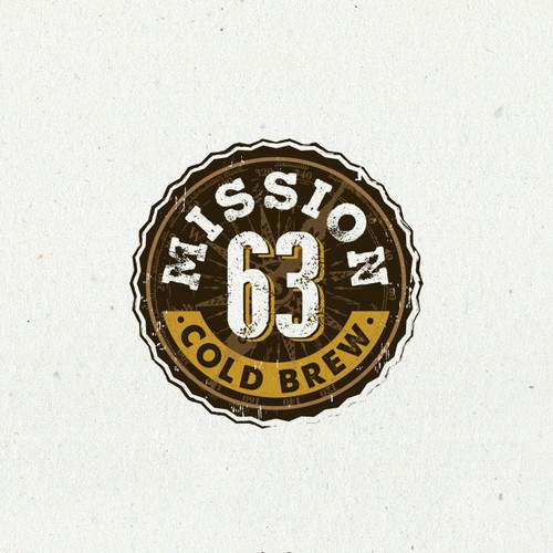 Earthy design with the title 'Logo design for Mission 63 Cold Brew'