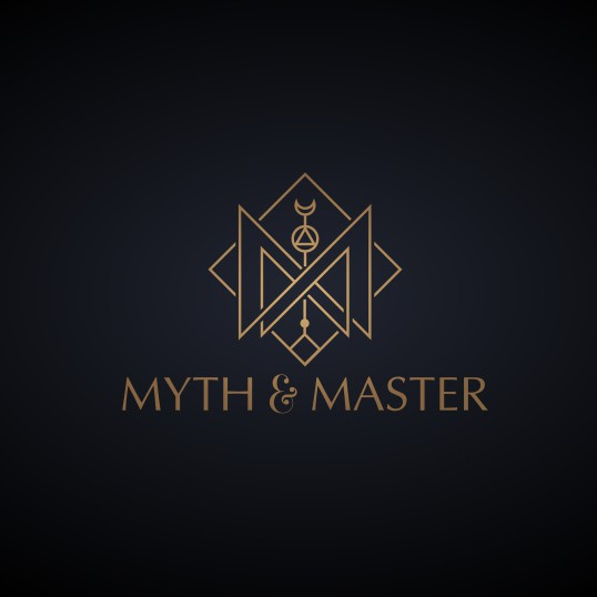 Gold jewelry logo with the title 'Mystical hipster jewelry line logo'