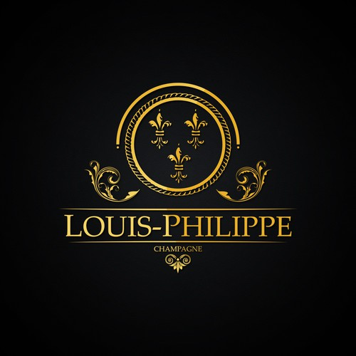 Champagne bottle logo with the title 'Logo concept Louis-Phillipe'