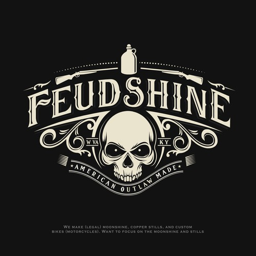 Brewery logo with the title 'Feudshine moonshine logo'
