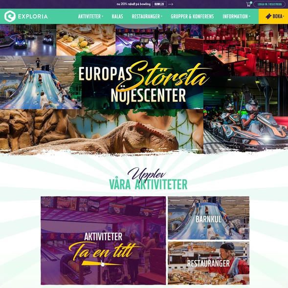 Party website with the title 'Creative redesign for indoor amusement park'