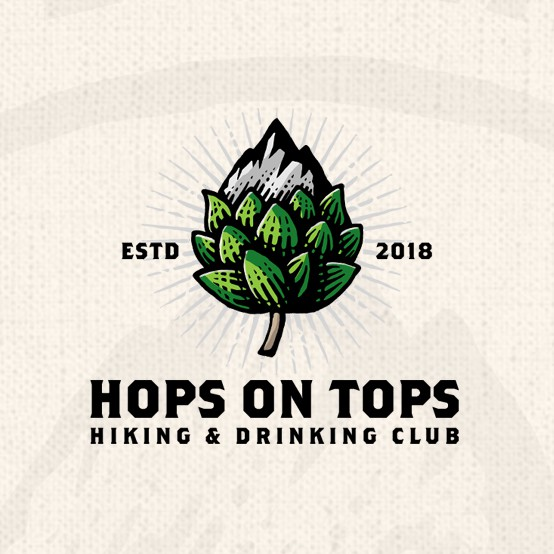 Club logo with the title 'Hops On Tops'