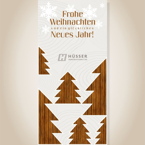 Christmas tree design with the title 'Natural Christmas card design.  '