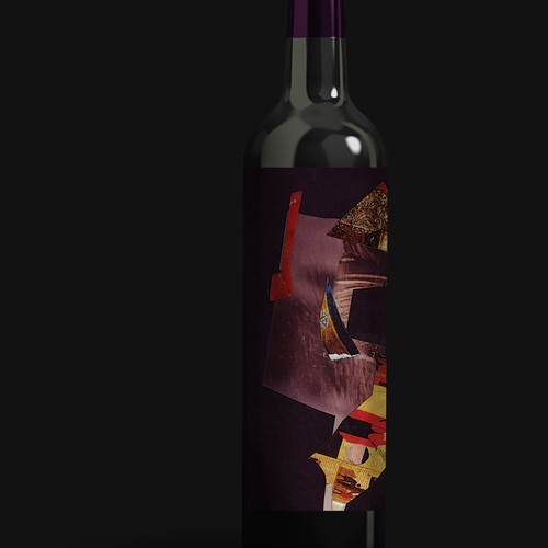 """Photo montage design with the title 'Cavallo Winery """"Unearthed"""" Label'"""