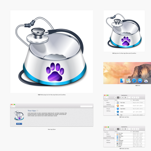 "Bowl design with the title '""Pet Logger""  macOS app icon design'"