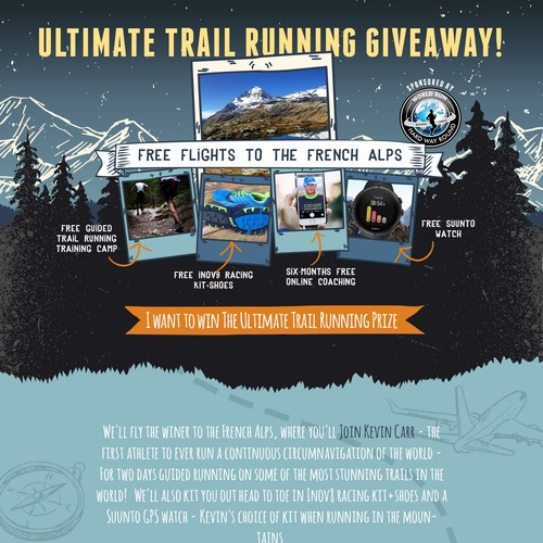 Sketching design with the title 'Ultimate Trail Running Giveaway'
