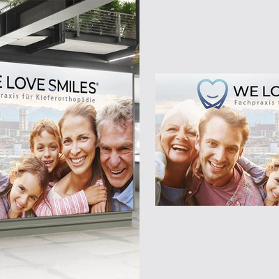 LED Banner for orthodonitc clinic behind reception