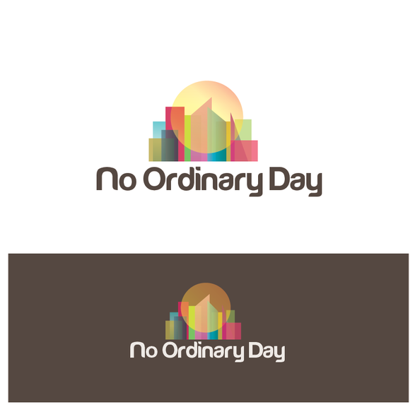 Sun and city logo with the title 'Help No Ordinary Day with a new logo'