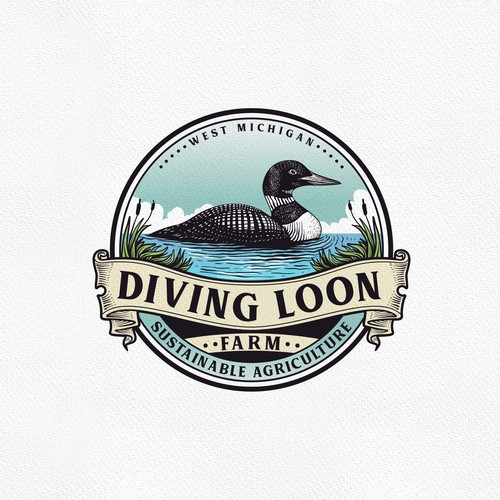 River design with the title 'Diving Loon Farm'