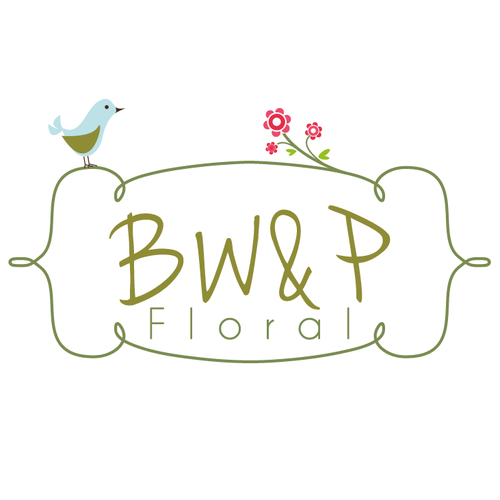 Flower logo with the title 'cute bird - florist logo'