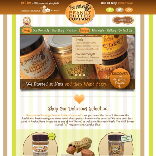 Peanut butter design with the title 'E-Commerce Website for Peanut Butter Company'