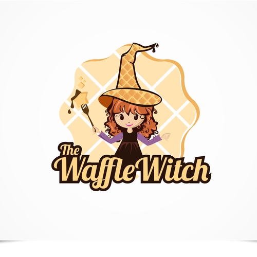 Adorable logo with the title 'The Waffle Witch'