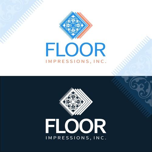 Floor logo with the title 'Tile/carpet shop logo'