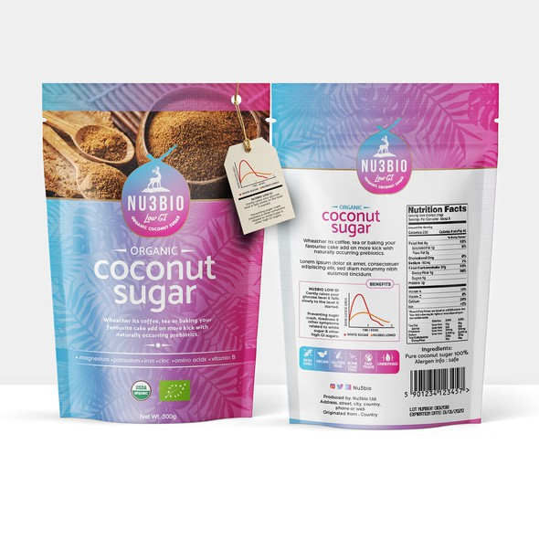 Wellness packaging with the title 'Nu3BIO Organic Coconut Sugar'