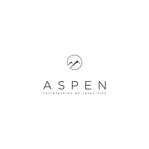 Refined logo with the title 'Aspen Coffee | Submitted logo #128'